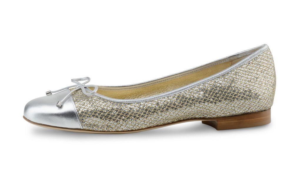 Werner kern fay glitter brokaat zilver ballerina schoenen